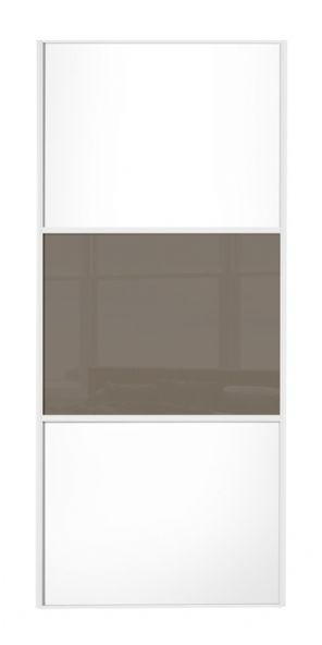 Wideline sliding wardrobe door, White frame, White-Cappuccino-White